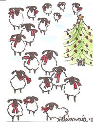 Art: Sheep Wearing Red Scarves by Artist Nancy Denommee