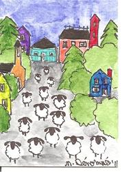 Art: Sheep Spend a Day in the Village by Artist Nancy Denommee