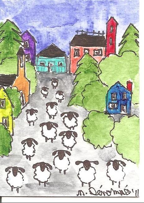Art: Sheep Spend a Day in the Village by Artist Nancy Denommee