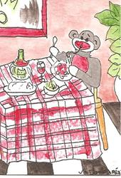 Art: Sock Monkey Eating Spaghetti by Artist Nancy Denommee