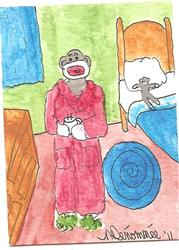 Art: Sock Monkey Has His Bedtime Cocoa by Artist Nancy Denommee