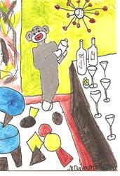 Art: Sock Monkey Mixing Cocktails by Artist Nancy Denommee
