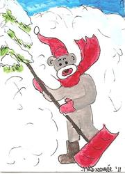 Art: Sock Monkey Shovels Snow by Artist Nancy Denommee