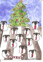Art: Sheep Waiting for Santa Claus by Artist Nancy Denommee