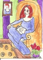 Art: Red Hair, Red Tulips by Artist Nancy Denommee