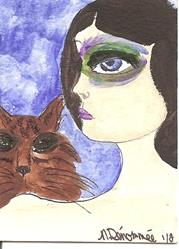 Art: Peacock Eye with Brown Tabby by Artist Nancy Denommee
