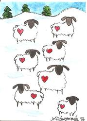 Art: Valentine Sheep by Artist Nancy Denommee
