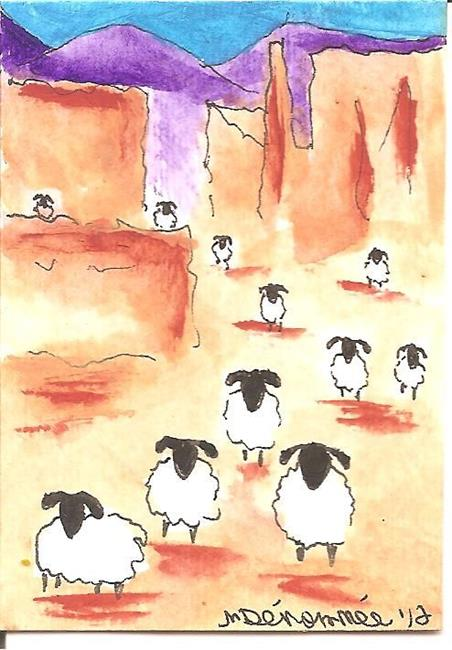 Art: Sheep Wander the Canyon by Artist Nancy Denommee