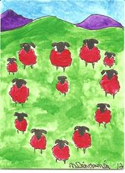 Art: Sheep in Heart Formation by Artist Nancy Denommee