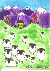 Art: Sheep Beneath the Mountains SOLD by Artist Nancy Denommee