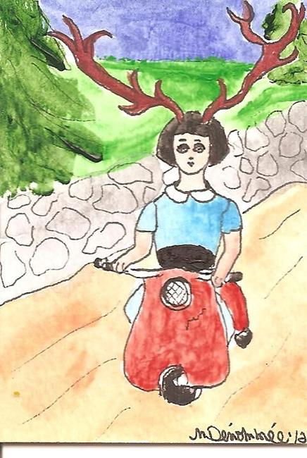 Art: Jane Doe on her Scooter SOLD by Artist Nancy Denommee