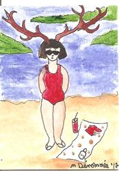 Art: Jane Doe at the Beach by Artist Nancy Denommee