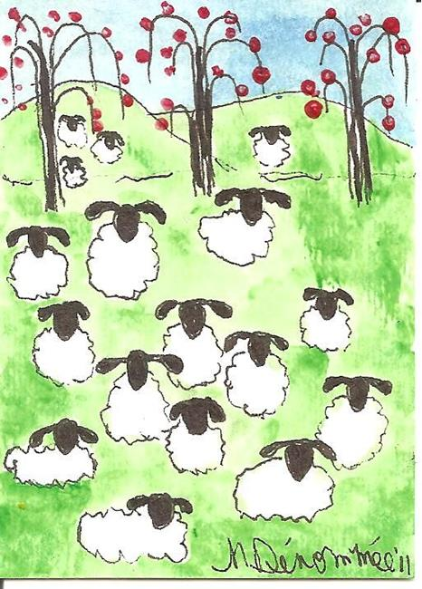 Art: Sheep Rest Under the Apple Trees SOLD by Artist Nancy Denommee