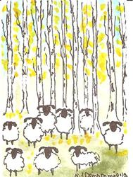 Art: Sheep and the Golden Aspen SOLD by Artist Nancy Denommee