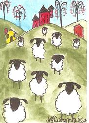 Art: Sheep in the Country SOLD by Artist Nancy Denommee