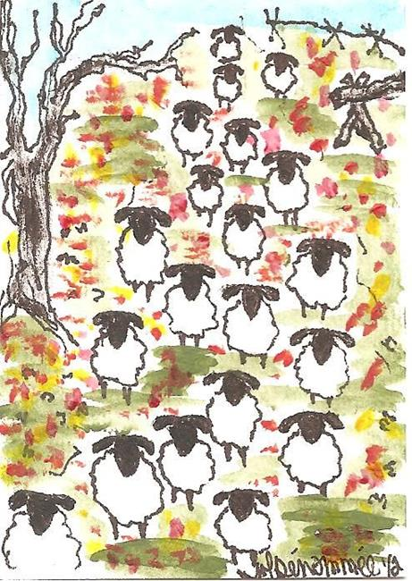 Art: Sheep Walking Through the Fall Leaves SOLD by Artist Nancy Denommee
