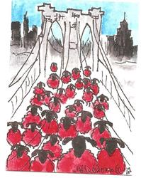 Art: Red Sheep on the Brooklyn Bridge by Artist Nancy Denommee