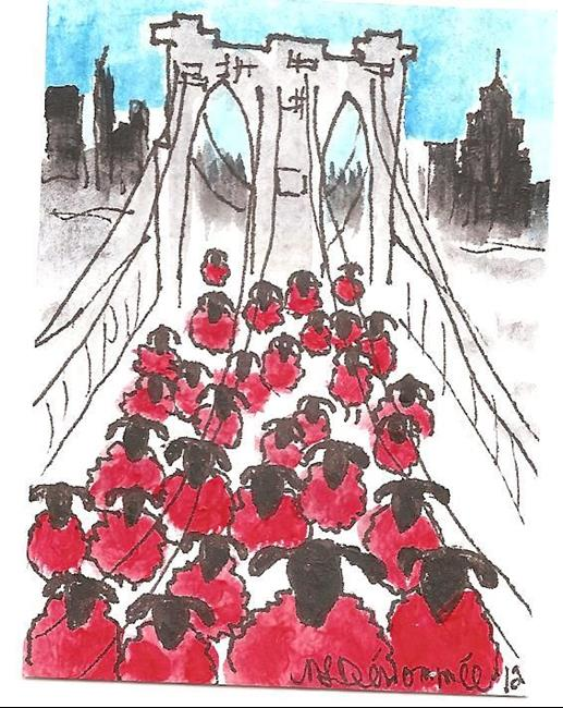 Art: Red Sheep on the Brooklyn Bridge by Artist Nancy Denommee