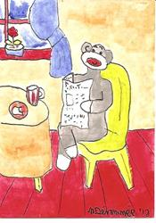 Art: Sock Monkey Reading the New York Times SOLD by Artist Nancy Denommee