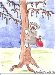Art: Sock Monkey Climbs the Candy Cane Tree SOLD by Artist Nancy Denommee