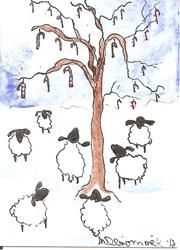 Art: Sheep Discover the Candy Cane Tree SOLD by Artist Nancy Denommee