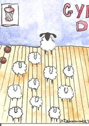 Art: Sheep at Keep Fit Class SOLD by Artist Nancy Denommee