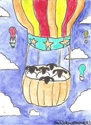 Art: Sheep Go Up Up and Away in a Beautiful Balloon SOLD by Artist Nancy Denommee