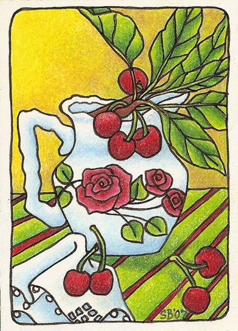Art: Fresh Cherries(sold) by Artist Shelly Bedsaul