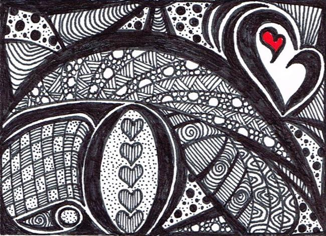 Art: Black and White Abstract ACEO by Artist Susan Forbrigger