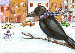 Art: Crow in the City by Artist Betty Stoumbos