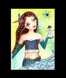 Art: Mermaid and Snowman ornament by Artist Betty Stoumbos