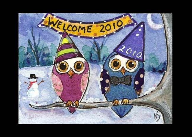 Art: Holiday Owls -Quiet Celebration by Artist Betty Stoumbos