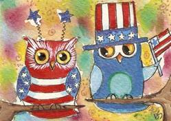 Art: Who's the red white and bluest... by Artist Betty Stoumbos