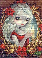Art: Christmas Candle ACEO by Artist Jasmine Ann Becket-Griffith