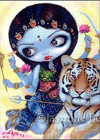 Art: Durga and the Tiger ACEO by Artist Jasmine Ann Becket-Griffith