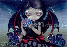 Art: Dark Dragonling ACEO by Artist Jasmine Ann Becket-Griffith
