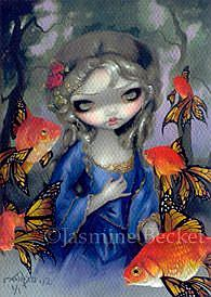 Art: Poissons Volants: Les Poissons Rouges ACEO by Artist Jasmine Ann Becket-Griffith