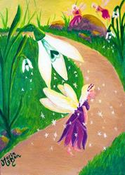 Art: Snowdrop Fairy Dusting by Artist Monique Morin Matson