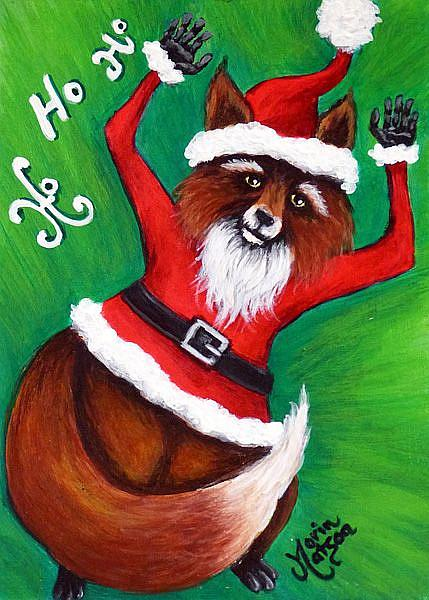 Art: Foxy Santa by Artist Monique Morin Matson