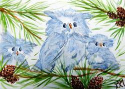 Art: Owl Babies by Artist Monique Morin Matson
