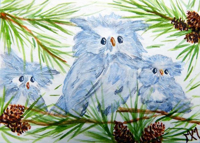 Art: Owl Babies  (SOLD) by Artist Monique Morin Matson