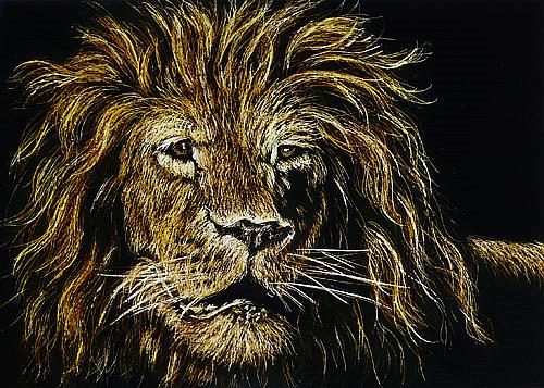 Art: Leo Lion  (SOLD) by Artist Monique Morin Matson