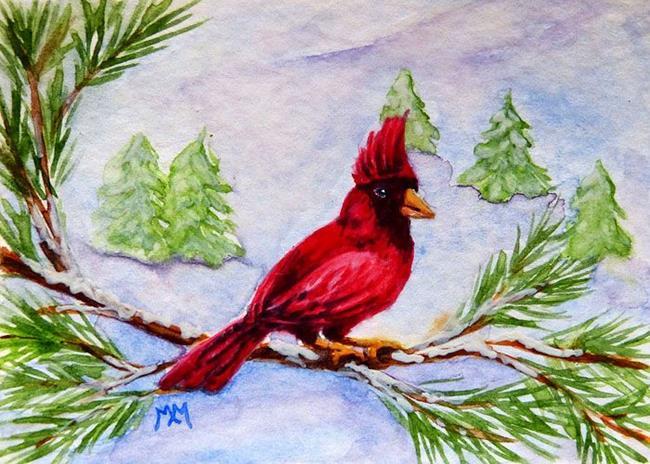 Art: Winter Cardinal  (SOLD) by Artist Monique Morin Matson