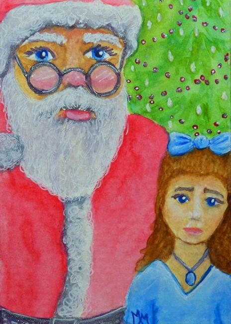 Art: Meeting Santa Claus  (SOLD) by Artist Monique Morin Matson