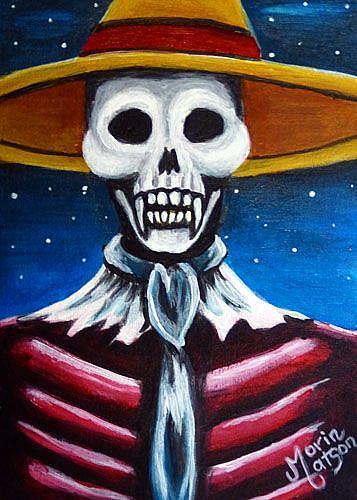 Art: Skeleton Scarecrow (SOLD) by Artist Monique Morin Matson