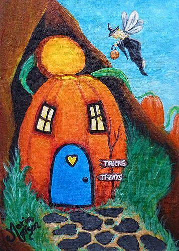 Art: A Fairy Halloween (SOLD) by Artist Monique Morin Matson