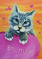 Art: Be Mine Kitty (SOLD) by Artist Monique Morin Matson