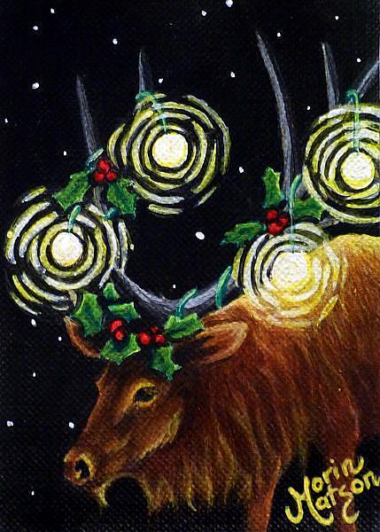 Art: Holiday Elk (SOLD) by Artist Monique Morin Matson