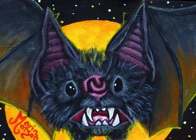 Art: Bat Face (SOLD) by Artist Monique Morin Matson