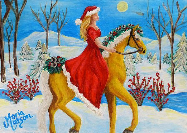 Art: Christmas by Moonlight (SOLD) by Artist Monique Morin Matson